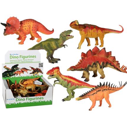 12-1318 Kunststoff-Figuren, Dinosaurier, ca. 20 cm, 6-fach sortiert, 12 Stück im Display