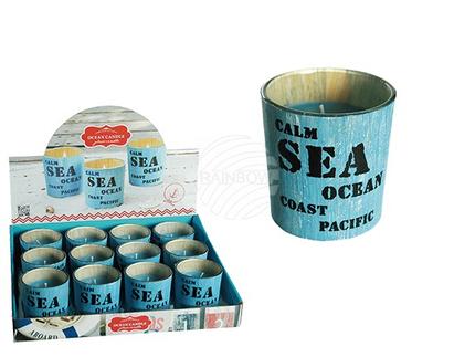 100177 Blaue Duftkerze (Ocean) Vintage Look, Maritim, ca. 8 x 7 cm, 12 Stück im Di