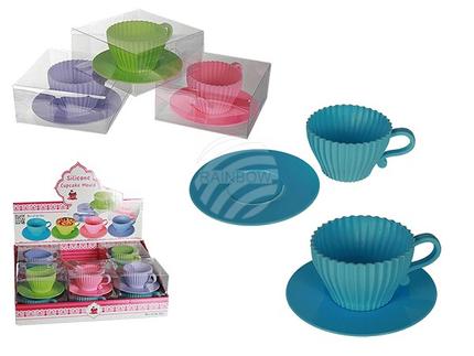 71-2780 Silikon-Cupcake-Backförmchen, Teetasse, für ca. 100 ml, ca. 11 x 5 cm, 4-farbig sortiert, in PVC-Box, 12 Stück im Display