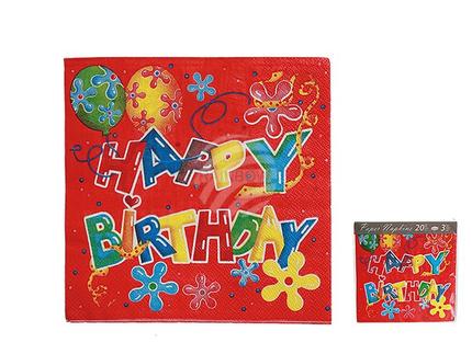145146 Rote Papier-Servietten, Happy Birthday, ca. 33 x 33 cm, 3-lagig, 20 Stück i