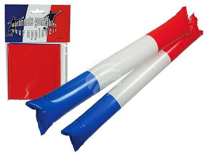 00-0832 Aufblasbare Klatschstangen, Frankreichflagge, ca. 60 cm, 2er Set im Polybeutel mit Headercard