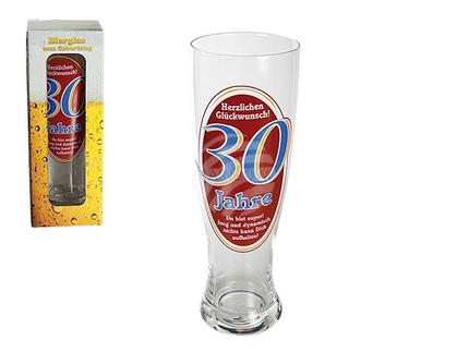 78-7867 Weizenbier-Glas, Herzlichen Glückwunsch - 30 Jahre, für ca. 700 ml, H: ca. 23,5 cm, 330/PAL