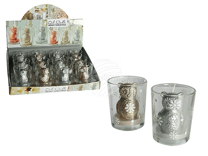 911083 Kerze im Glas, Weihnachtseule, ca. 5,5 x 6,5 cm, 2-farbig sortiert, 12 Stück im Display