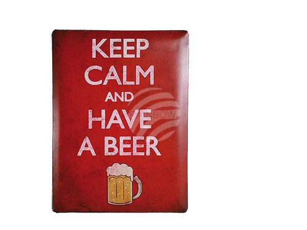 810653 Metall-Schild, Nostalgie Keep calm and have a beer, ca. 30 x 40 cm