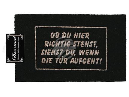 14-2063 Fußmatte, Ob du richtig stehst..., ca. 75 x 45 cm, mit Headercard zum Aufhängen