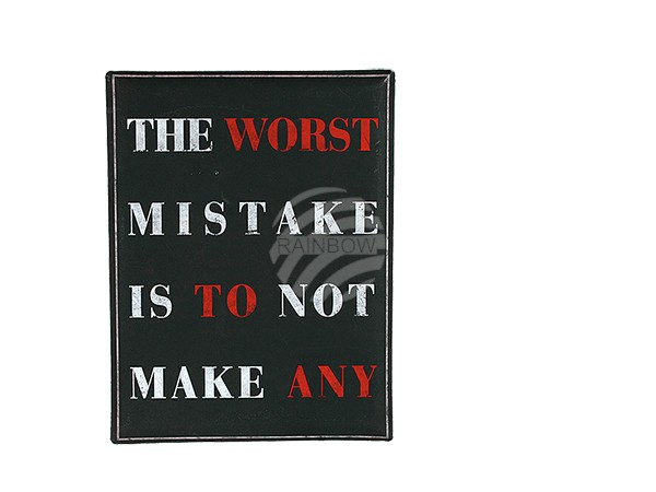 810663 Metall-Schild, The worst mistake is to not make any, ca. 30 x 40 cm