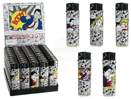10-2339 Elektro-Feuerzeug, Comic Story, 5-fach sortiert, 50 Stück im Display
