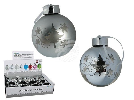 938868 Silberfarbene Glas-Weihnachtsbaum-Kugel mit warmweißer LED & Band zum Aufhängen, ca. 8 cm (8 x glänzend, 4 x matt) für 1 Micro Batterie (AAA) 12 Stück im Display, 1728/PAL
