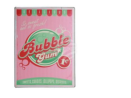 810677 Metall-Schild, Nostalgie Bubble Gum, ca. 30 x 40 cm, 1152/PAL
