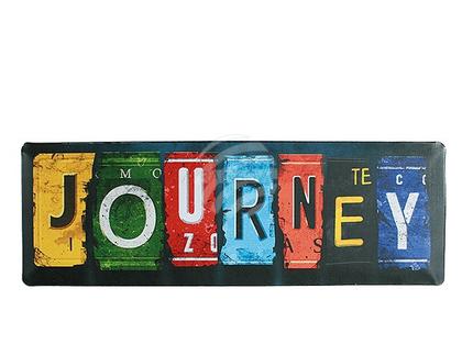 810684 Metall-Schild, Nostalgie Journey, ca. 15 x 45 cm, 1200/PAL