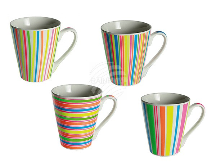 78-8186 Porzellan-Becher, Neon Stripe II, ca. 10 x 9 cm, 4-farbig sortiert