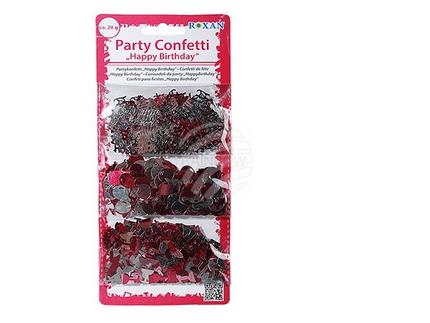 181045 Pink/silberfarbenes Partykonfetti, Happy Birthday, ca. 28 g, 3 Sorten, im Polybeutel mit Heardercard