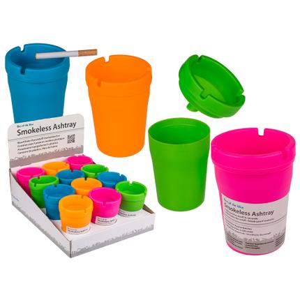 29-3487 Rauchfreier Kunststoff-Aschenbecher, Colours, ca. 10 x 8 cm, 4-farbig sortiert, 12 Stück im Display, 1152/PAL