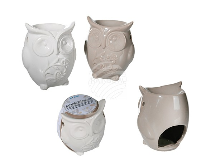 250034 Keramik-Aromalampe, Eule, ca. 9,5 x 11 cm, 2-farbig sortiert (16 x weiß, 8 x taupe)