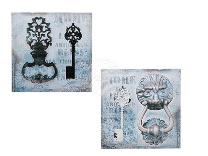 810243 Bild mit Metallapplikation, Schlüssel, Leinen auf Holzrahmen, ca. 40 x 40 cm, 2-fach sortiert, 216/PAL