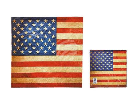 145162 Papier-Servietten, Vintage Look, Stars & Stripes, ca. 33 x 33 cm, 3-lagig, 20 Stück im Polybeutel