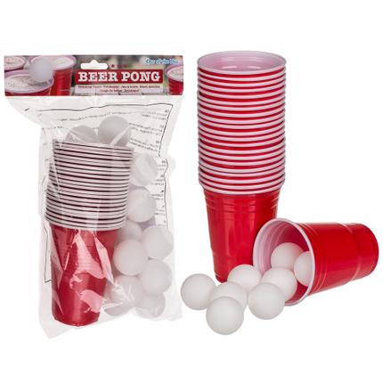79-3936 Trinkspiel, Beer Pong, mit 15 Bällen & 22 Trinkbechern, für ca. 550 ml, im Polybeutel mit Headercard, 420/PAL