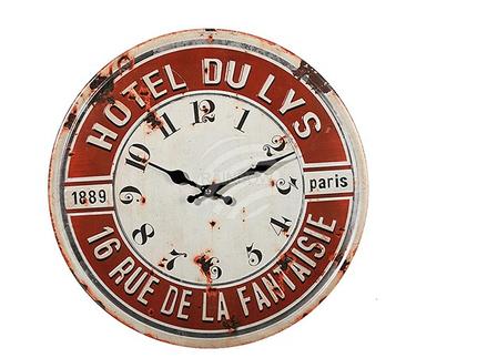79-3205 Metall-Wanduhr, Hotel Du Lys, D: ca. 40 cm, für 1 Mignon Batterie (AA), 96/PAL