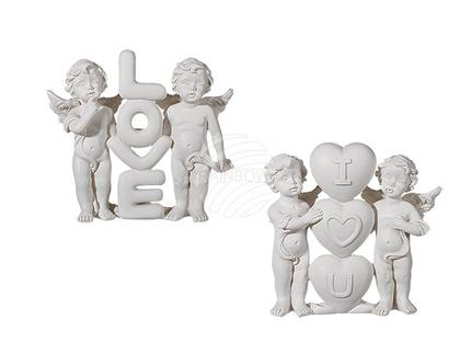937137 Stehende Polyresin-Engel, Love & I heart u sortiert, ca. 9,5 x 8 cm, 12 Stück im Display