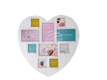 94-2557 Cremefarbener Kunststoff-Bilderrahmen, Antique Herz, ca. 47 x 46 cm, für 4 Fotos 10 x 15 cm & 6 Fotos 8 x 8 cm