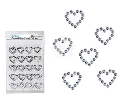 719189 Dekoperlen-Sticker, Herz, ca. 2,5 cm, 40 Stück auf Blisterkarte
