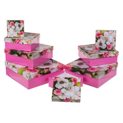 101669 Pinkfarbene Geschenkkartonage, Lilie, ca. 22,5 x 22,5 x 8 cm, 8er Set, einzelne EAN-Auszeichnung, 240/PAL