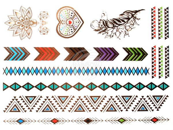 MT-74 Klebetattoos Fake Tattoos Formen Herz Feder metallic multicolor