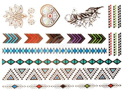 MT-74 Temporäre Tattoos, Klebe Tattoos, Fake Tattoo metallic