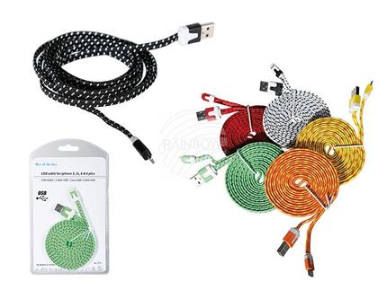 69-0067 USB-Kabel für iPhone 5, 5s, 6 & 6 Plus, L: ca. 2 m, mit Textilummantelung, 6-farbig sortiert, in Blisterpackung