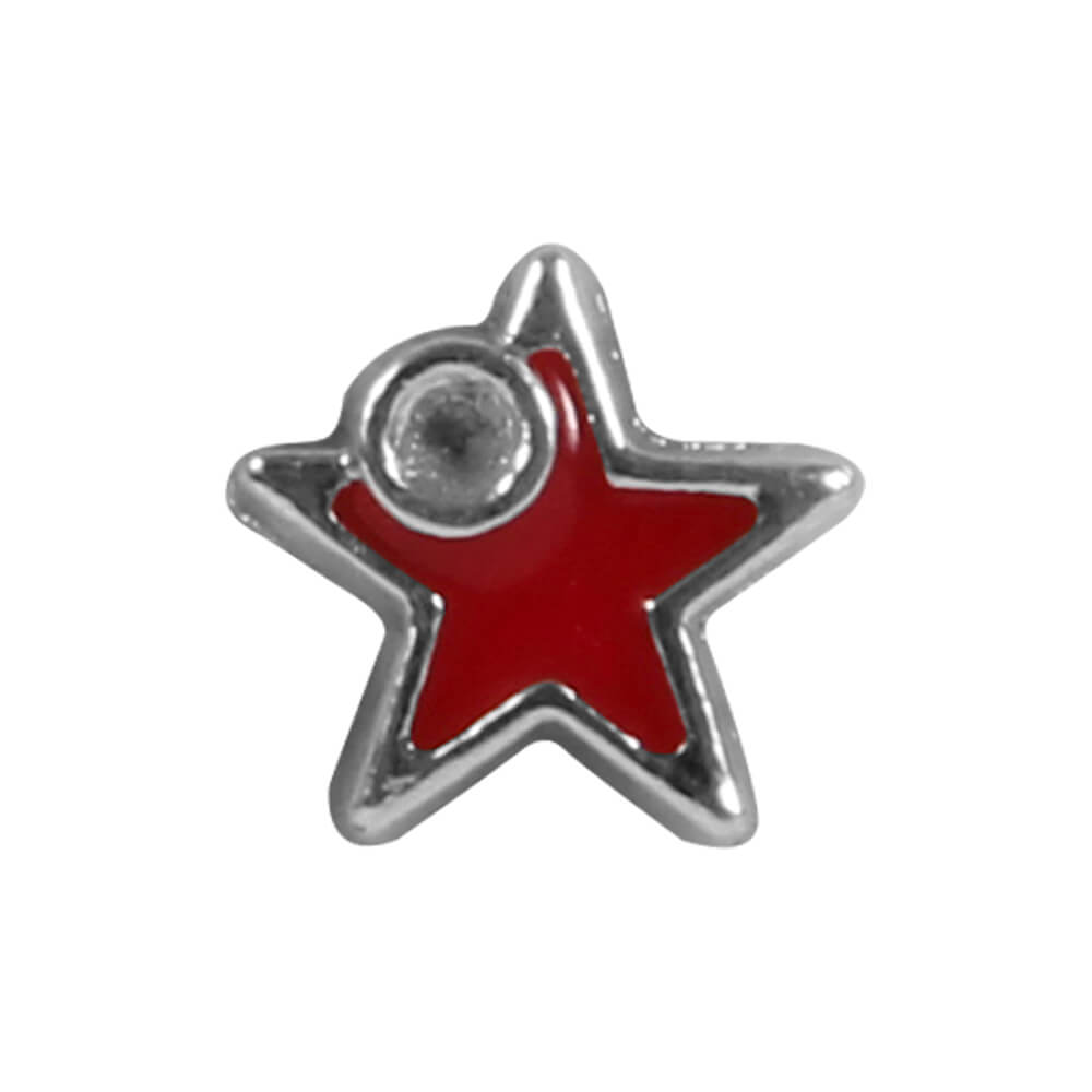 DK-35 Flying Charm Inlay Silber rot Roter Stern