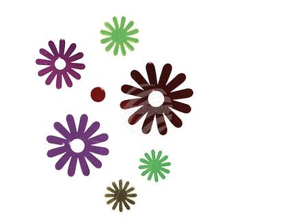 146121 Kunststoff-Wandsticker, Blume, ca. 11cm, 2-farbig sortiert, 14 Stück im Polybeutel mit Headercard