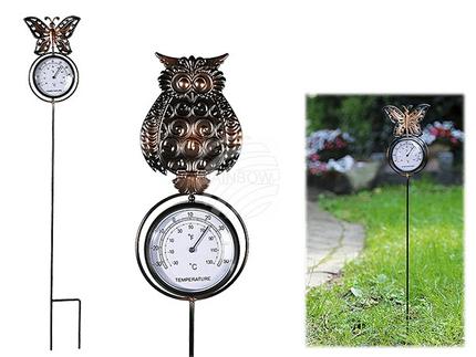 220102 Metall-Gartenstecker mit Thermometer, Eule & Schmetterling sortiert, ca. 9 x 70 cm