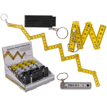 12-0034 Metall-Schlüsselanhänger, Kunststoff-Zollstock, L: 50 cm, 3-farbig sortiert, 24 Stück im Display