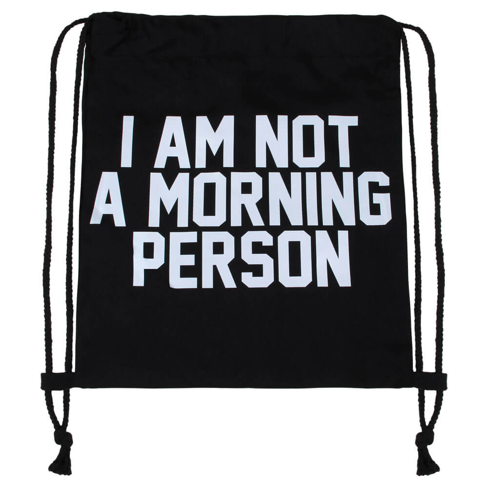 RU-27 Gymbag, Gymsac Design: I am not a morning person Farbe: schwarz, weiss