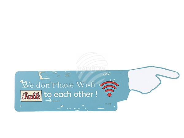 810692 Holz-Schild, Vintage Look, Finger, We do not have Wi-fi talk to each other, ca. 19 x 70 cm