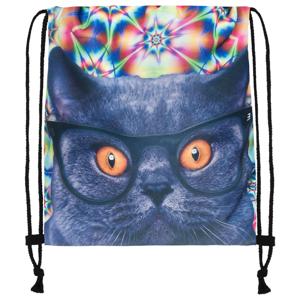 RU-40 Gymbag, Gymsac Design: Psychedelic Katze Farbe: multicolor