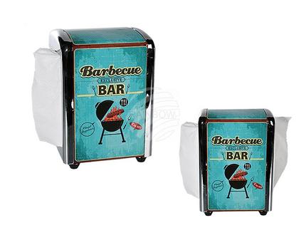 71-3082 Metall-Serviettenspender, Barbecue Bar, ca. 14 x 10 cm, inkl. 100 Servietten