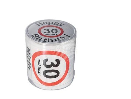 33-0024 Toilettenpapier, Happy Birthday - 30, in PVC-Dose, 960/PAL