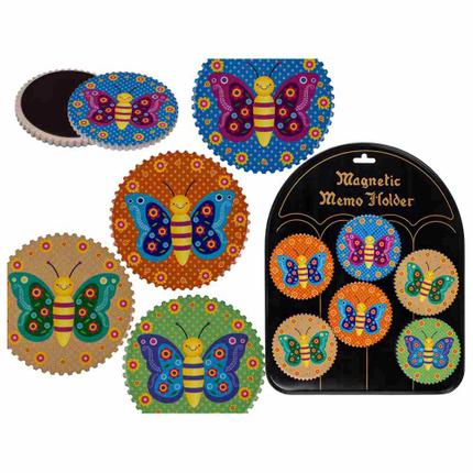 101711 Polyresin-Magnet, Schmetterling, ca. 7 cm, 4-farbig sortiert, mit Magnettafel, 8064/PAL