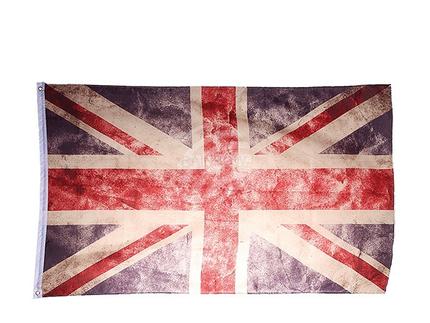 00-0797 Union Jack-Flagge mit Metallösen, Vintage Look, ca. 150 x 90 cm, im Polybeutel mit Headercard