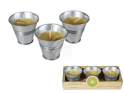100076 Citronella-Kerze im Zink-Topf, ca. 6 x 5 cm, 2-farbig sortiert (8 x gelb, 4 x grün) 3er Set in Geschenkpackung, 840/PAL
