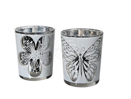 350227 Weißer Glas-Teelichthalter, Schmetterling & Blume sortiert, ca. 6,5 x 5 cm, 12 Stück im Display