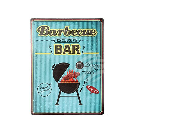 810714 Metall-Schild, Vintage Look, Barbecue Bar, ca. 30 x 40 cm