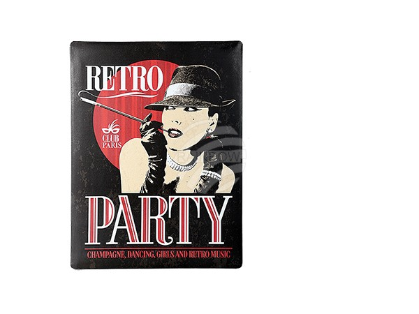 810720 Metall-Schild, Vintage Look, Retro Party, ca. 30 x 40 cm