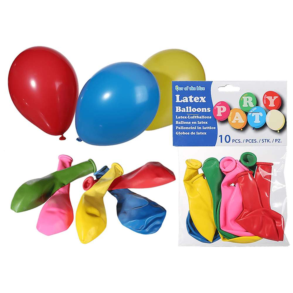 62-0929 Latex-Luftballons, Party Colour, D: ca. 22 cm, 10 Stück im Polybeutel mit Headercard