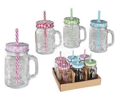 78-7855 Trinkglas, Einmachglas mit Henkel, Metallschraubverschluss & Kunststoff-Trinkhalm, für ca. 450 ml, H: 12 cm, 4-farbig sortiert, 6 Stück im Aufsteller, 720/PAL