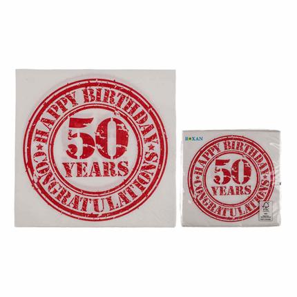 145180 Papier-Servietten, Vintage Look, Happy Birthday - 50, ca. 33 x 33 cm, 3-lagig, 20 Stück im Polybeutel, 1512/PAL