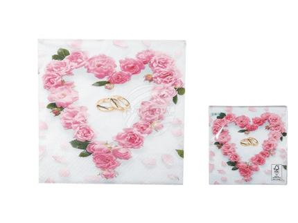 145189 Papier-Servietten mit Eheringe & Herz aus rosafarbenen Rosenblüten, ca. 33 x 33 cm, 3-lagig, 20 Stück im Polybeutel
