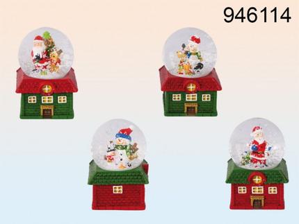 946114 Polyresin-Schneekugel, Weihnachtsfigur, auf rotem & grünem Haus, ca. 7 x 5 cm, 4-fach sortiert, 12 Stück im Display