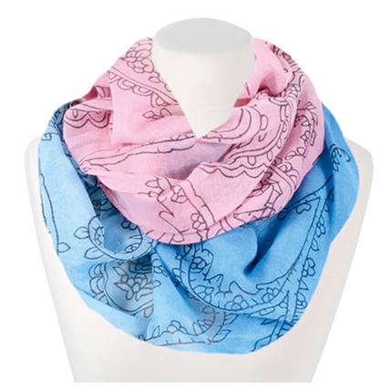 SCH-1046b Damen Loop Schal Paisley Muster blau, rosa
